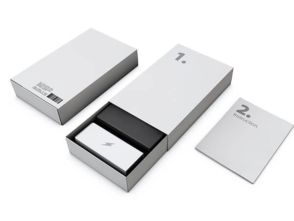 an electronic product packaging box with the product inside